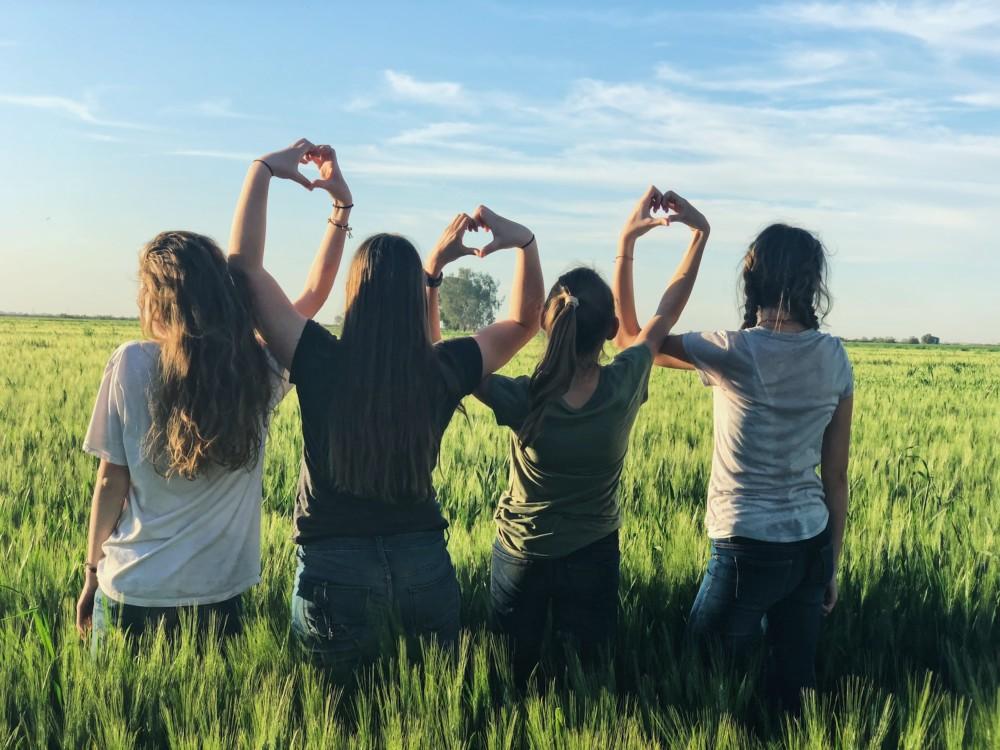 Фотосессия в поле с подругами